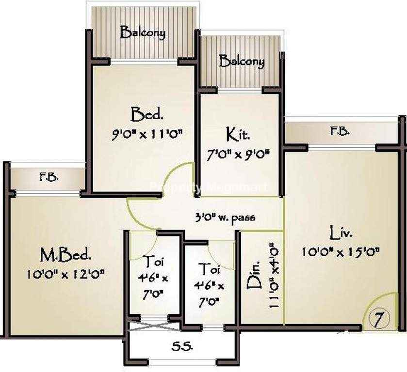 Today Global Euphoria2 BHK Floorplan