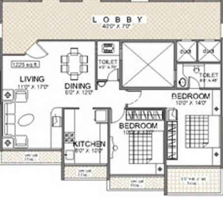 Reliable Balaji heights2 BHK Floorplan