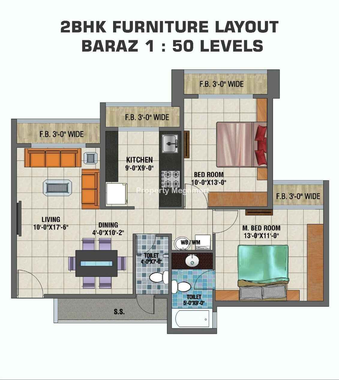 Arihant Clan Aalishan2 BHK Floorplan