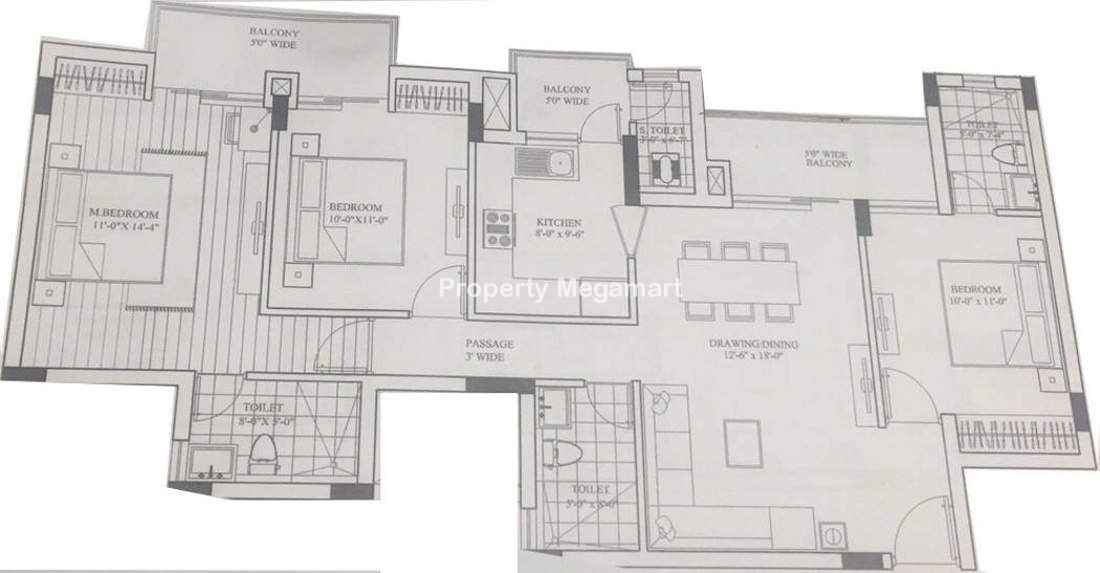 Lotus Greens Sports City3 BHK Floorplan