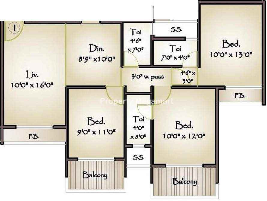 Today Global Euphoria3 BHK Floorplan