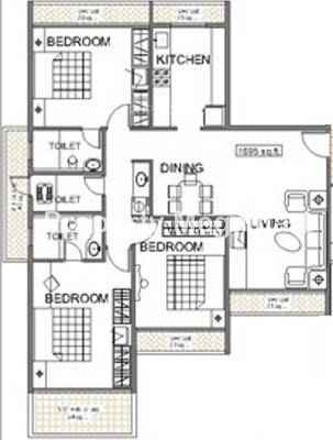 Reliable Balaji heights3 BHK Floorplan