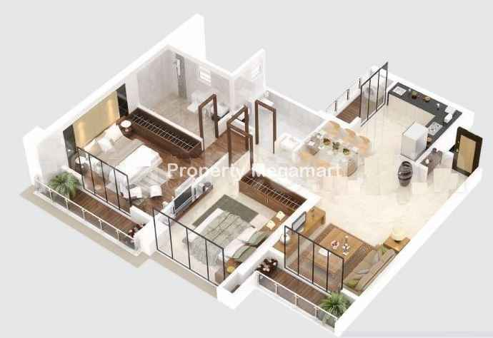 Paradise Group Sai World City2 BHK Floorplan
