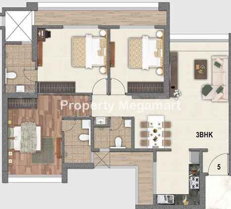 Paradise Group Sai World City3 BHK Floorplan