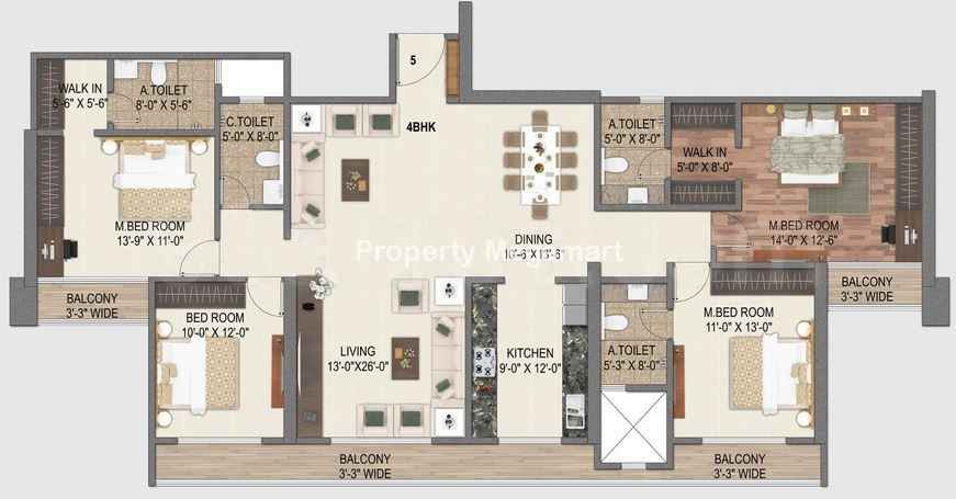 Paradise Group Sai World City4 BHK Floorplan
